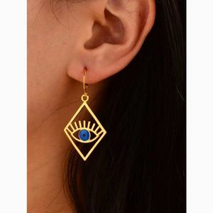 Geometric Rhombus Eye Statement Drop Earrings